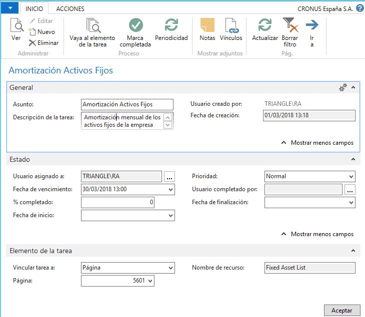 Dynamics NAV user tasks 2
