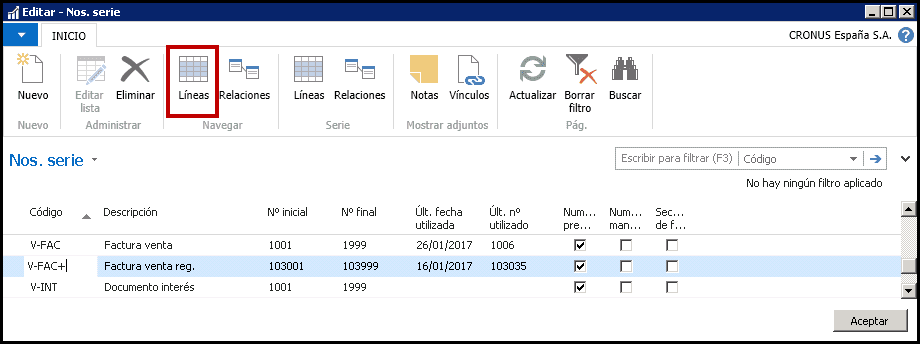 Series de registro y nuevo periodo contable Dynamics NAV